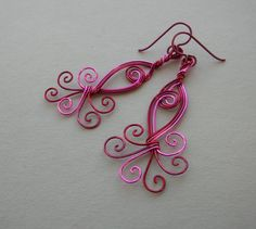 Pink Peacock Wire Swirl Earrings  Red Pink by silverowlcreations, $43.00