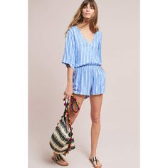 e7ebcabd5a3 Beachgold Ancona Striped Romper ( 128) ❤ liked on Polyvore featuring  jumpsuits