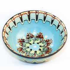Hand Painted Bulgarian Pottery Serving Bowl
