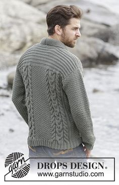 "5a2b2a2be8 Finnley - Knitted DROPS men s jacket with cables and shawl collar in ""Lima""."