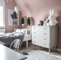 A pretty grey and pink kid's room - Is To Me