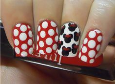 Minnie Mouse Nails, doing this for disney world!