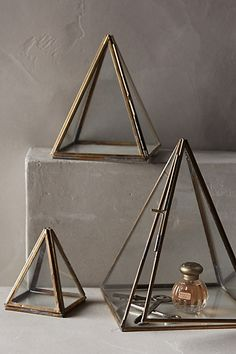 Triangled! Jewelry would look so pretty in these or corral your skin care goodies!  #anthroregistry Glass Pyramid Display Cases - anthropologie.com