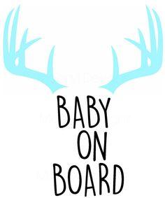 Baby on Board  Antlers  Vinyl Decal  Window by MoonylDesigns