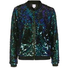 Sequin Bomber Jacket by We All Shine - Festival - Clothing - Topshop ❤ liked on Polyvore featuring outerwear, jackets, flight jackets, bomber jackets, blouson jacket, bomber style jacket and sequined jackets