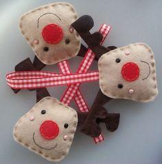 handmade REINDEER felt christmas decorations