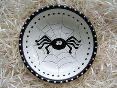 Spider Bowl Halloween White Ceramic Polish Pottery Hand Painte