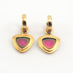 Watermelon Tourmaline Slices in 14K Yellow Gold on Removable Hoop Earrings by Sasa Jewelry