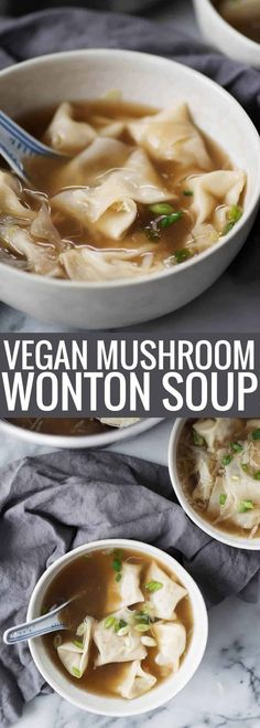 Mushroom Wonton Soup! Homemade wontons with mushrooms and tofu served in a rich mushroom broth. A vegetarian must! (Easily Vegan) | www.delishknowledge.com
