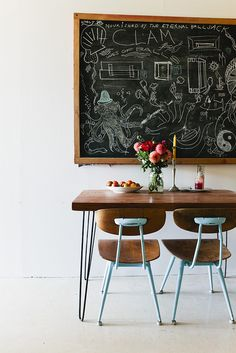 those chairs and a chalk board