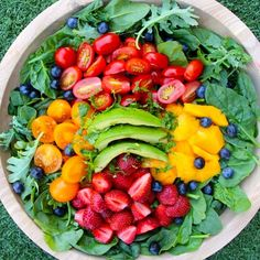 """""""God is our refuge and strength, an ever-present help in trouble."""" Psalm 46:1Rainbow salad tonightmango, strawberries, blueberries, cherry tomatoes, cilantro, and avocado dressed with lime."""