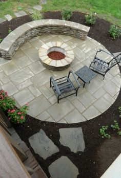 Patio under deck with separate firepit patio, This was a typical back of a house…