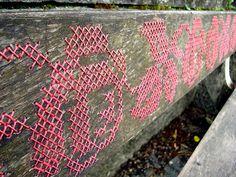 Cross stitch street art