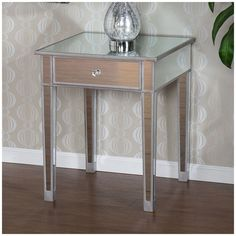 Mirrored End Table Nightstand Side Accent Silver Bedroom Glam Cabinet 1 Drawer  #Modern