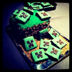 Grass block cake with creeper brownies Minecraft cake LOL. by manuelaraoz, via Flickr