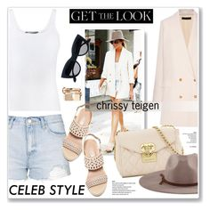"""chrissy teigen"" by nanawidia ❤ liked on Polyvore featuring Topshop, Vince, The Row, Charles by Charles David, Love Moschino, Goorin and Valentino"