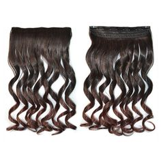 Hair Extension Gradient Ramp Wave Curled Wig black dark brown 5C2-1BT33#