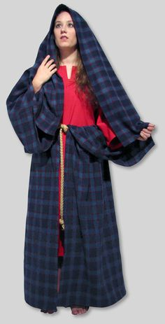 Laena/Arisaid   Wool Plaid Cloak Wrap with Rope Belt Several Plaids available