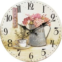 Large Wall Clock Kitchen Living Room Home Decor Round Design Flower In Vase New Shabby Look, Vintage Shabby Chic, Kitchen Wall Clocks, Decoupage Vintage, Round Design, Rooms Home Decor, Decoration, Flower Designs, Flowers
