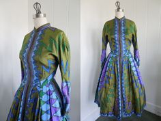 1960s Vintage Silk Green Purple and Blue Bohemian by FrenchKissxo, $195.00