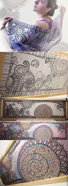 Роспись шёлкового шарфа «Восточные грёзы». Мастер-класс