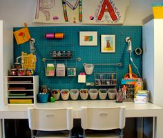 Kids Craft Area. Cool use of a peg board.