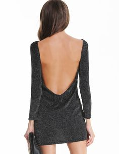 Backless Bodycon Black Dress