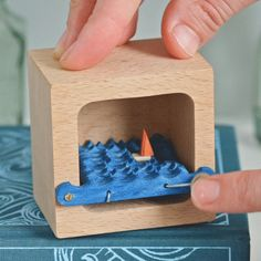 Wind up this moving diorama and drift into a daydream as the little sailboat inside moves along rolling waves. Each box is handmade in Washington. Diy And Crafts, Crafts For Kids, Arts And Crafts, Paper Crafts, Wood Projects, Woodworking Projects, Projects To Try, Kinetic Toys, Girls Dollhouse