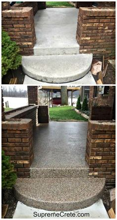 Resurface old concrete with pebble stone in one day - Resurfacing exterior concrete stairs ...
