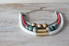 Tribal red gold white statement necklace by elenasaglfe on Etsy, $39.00