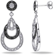 Amour 2/5 Ct Black And White Diamond Tw Ear Pin Earrings Silver Gh I3... ($146) ❤ liked on Polyvore featuring jewelry, earrings, nocolor, tear drop earrings, long earrings, teardrop earrings, silver tear drop earrings and butterfly dangle earrings