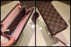 via ThePurseForum  Louis Vuitton Clemence Wallet in Damier Ebene & Rose Ballerine