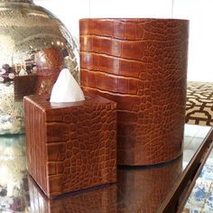 Leather Waste Basket in 8 Colors