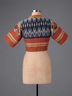 Black-Rust Hand-painted Kalamkari Ikat Cotton Blouse with Embroidery