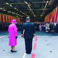 Three cheers for Her Majesty The Queen! Royal Navy personnel and their families bid farewell to The Queen after her visit for the rededication of #HMSOcean