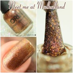Meet me at Mulholland, topper, sheer grey base with copper and gold flakes and a subtle pink shimmer