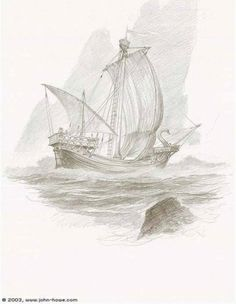 Earendil was a mariner that tarried in Arvernien; he built a boat of timber felled in Nimbrethil to journey in. Her sails he wove of silver fair, of silver were her lanterns made, her prow he fashioned like a swan, and light upon her banners laid.