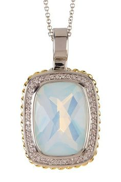 Two-Tone Rectangle CZ Pave Twisted Trim Pendant Necklace by Lafonn on @HauteLook