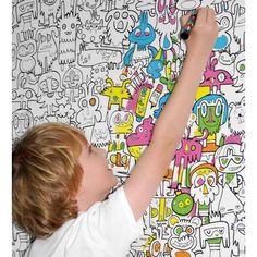 Burgerdoodles Colour-in Wallpaperby Burgerplex. This innovative wallpaper will make the perfect gift for your arty youngster. It hangs like normal wallpaper, but once it's on the wall, your...