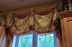 The Thrifty Gypsy: Kitchen Details. Sherwin Williams paint: Blonde and Ivorie, a little lighter shade. Kitchen Window Treatments, Custom Window Treatments, Curtains And Draperies, Window Valances, Drapery Panels, Curtain Valances, Elegant Curtains, Curtain Designs, Curtain Ideas