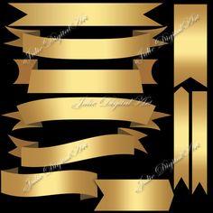 Gold ribbons banner clipart Digital Tags Clip от JulieDigitalArt