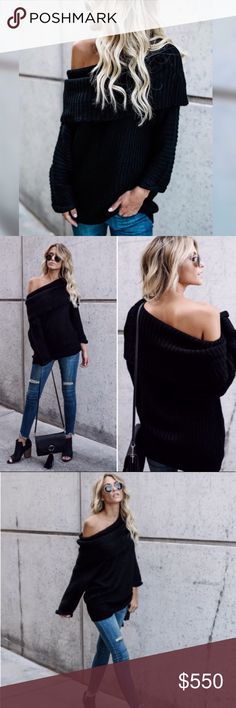 COMING SOON Black Chunky Fold Over Sweater Gorgeous soft, oversized versatile sweater can be worn off both shoulders, off one shoulder or as a cowl neck. Features fold over top and cuffed sleeves. 65% cotton 35% spandex Price is firm unless bundled. No trading. Available for pre-order $55 Sweaters
