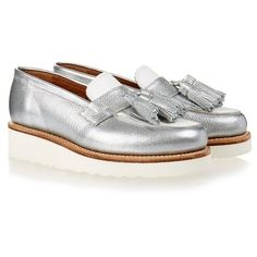 Clara Silver and White Tassel Loafer ❤ liked on Polyvore featuring shoes, loafers, white shoes, tassel loafers, white tassel loafers, tassel shoes and loafers moccasins