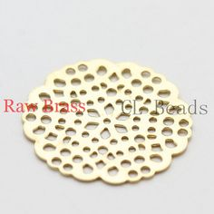20pcs Raw Brass Filigree Charm  Earring Component 24mm by clbeads