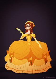 "Historical Disney Princess - Belle http://shoomlah.deviantart.com/ ""I can't explain it, but reinterpreting Disney princess outfits through a more historically accurate lens really, really appeals to me. Beauty and the Beast has always hovered hesitantly in the late 18th century (especially in the earlier concept art), so I redid Belle's gold dress to match 1770's French court fashion."""
