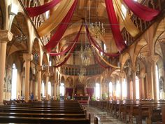 This wooden cathedral in downtown Paramaribo will take your breath away! Stunning and all wood inside and out. South America, Cathedral, Most Beautiful, Fair Grounds, Wood, Woodwind Instrument, Wood Planks, Trees, Home Decor Trees