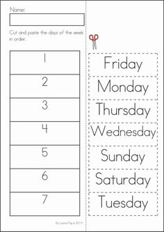 Kindergarten SUMMER Review Math & Literacy Worksheets & Activities. 104 pages. A page from the unit: Days of the week cut and paste by AmandaK26