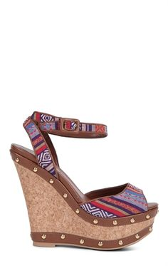 Open Toe Platform Wedge with Tribal Print Trim and Stud Accents