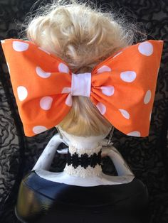 https://www.etsy.com/shop/MyBeautifulMayhem   HI EVERYONE, THIS IS MY EXTRA ORANGE AND WHITE HAIR BOW.  IT IS 9 INCHES LONG AND 5 INCHES WIDE .  IT IS ALL HAND SEWN, AND HAS A FRENCH BARRETTE HAIR CLIP SO IT WILL FASTEN TIGHT IN YOUR HAIR !