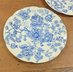 "Two 10"" Dinner Plates ~ English Chippendale Blue Chintz Transferware China ~ Johnson Bros England Replacement China by FeeneyFinds on Etsy"